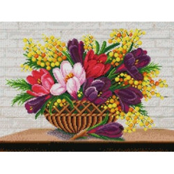 (Discontinued) Diamond painting kit Dog with Flowers AZ-1189