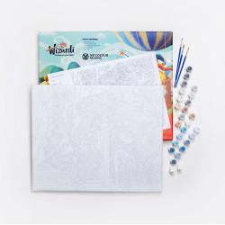 Wizardi painting by number kit. Rainbow Zebra 40x50 cm T077