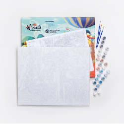 Wizardi painting by number kit. Colourful horse 40x50 cm T257